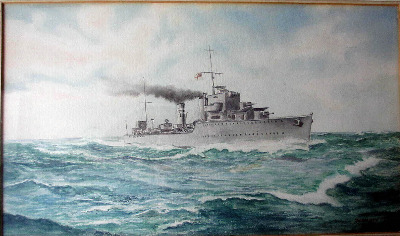 A Naval Warship at sea, watercolour on paper, signed G.W. Elliott, 1944.