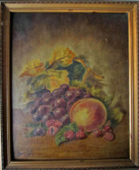 Still-life study of fruit on a table, oil on panel, signed J. Beveridge, 1917. Updated images.