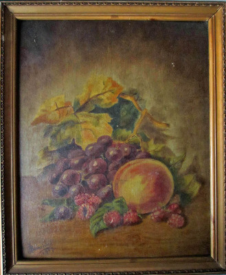 Still-life study of fruit on a table, oil on panel, signed J. Beveridge, 19