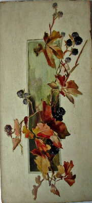 Still-life study of cut blackberry vine, oil on panel, unsigned. c1900.   S