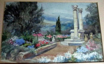 A Continental Garden Terrace, watercolour on paper, signed M. Kitchener, c1930.