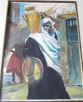 Arabian Street Scene with Woman, gouache on paper, signed A.W. Daniels, 192