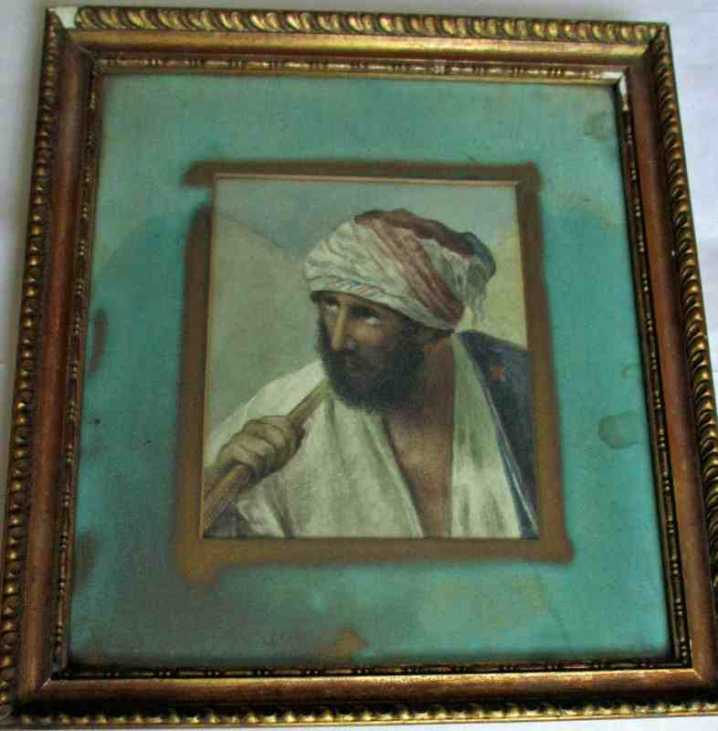 Arabian portrait study, watercolour on card, c1900.