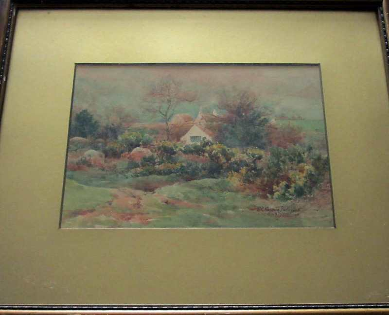 Dartmoor cottage scene signed by E.C. Pascoe Holman 1920.