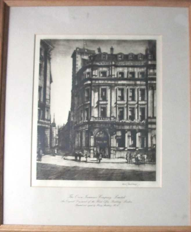 The framed etching viewed through glazing.