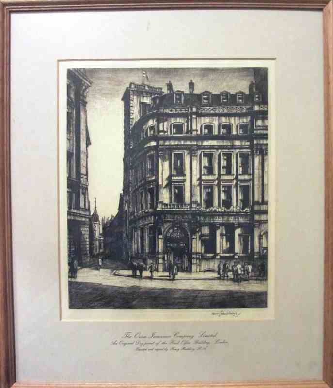 Henry Rushbury Dry-point The Orion Insurance Co. Ltd., London, c1925.