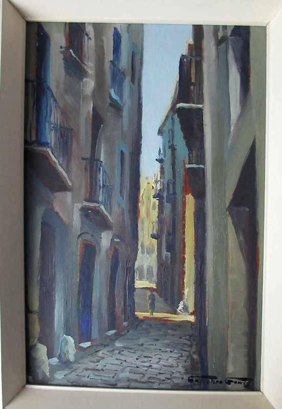 Continental Street Scene, oil on board, signed Grivelero Gomez.
