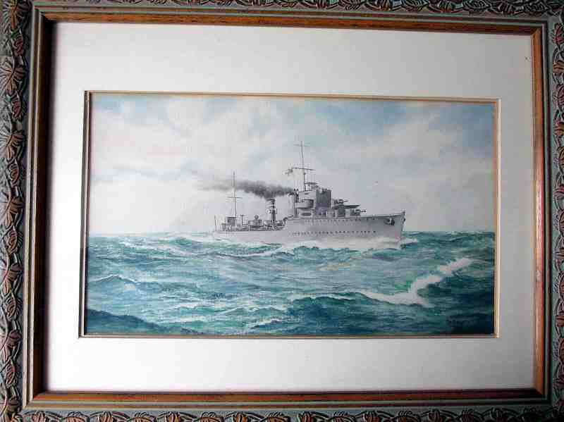 Watercolour on paper painting of British warship dated 1944.