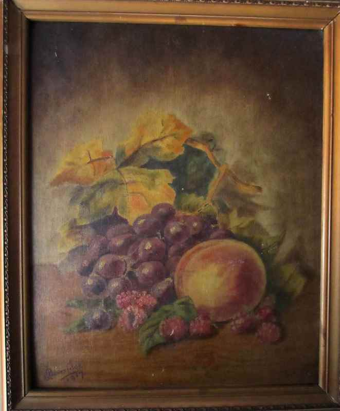 Still-life study in oil, signed J. Beveridge, 1917.