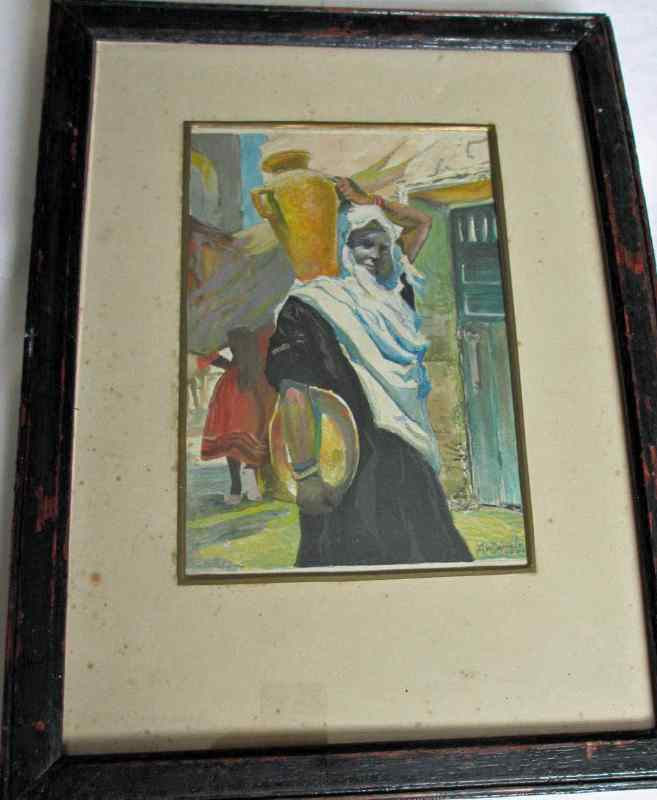 Arabian Street Scene, gouache and watercolour signed A.W. Daniels, 1924.