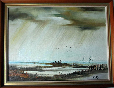 English Coastal Scene with Figures and Yachts, oil on board, signed monogra