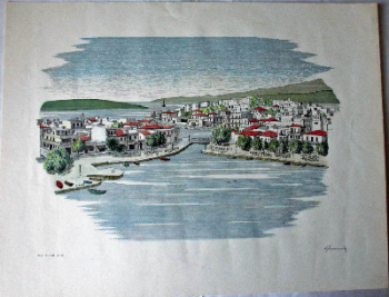 Agios Nikolaos Crete, Open Edition print on art paper, signed R. Joannides, c1990.