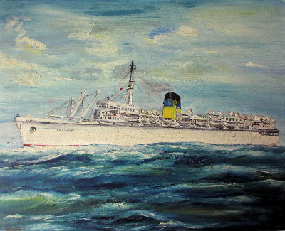 Q.S.S. Arkadia, Greek Line, oil on board, signed Pilota and original Greek