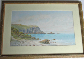 Coastal landscape with seagulls and sailing boats, watercolour on paper, signed Robert J. Pollard, 1920, framed and glazed.
