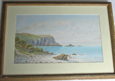 Coastal landscape with seagulls and sailing boats, watercolour on paper, si