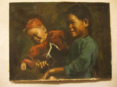 Portrait study of Chinese mother and baby, oil on canvas, signed Lee. c1950