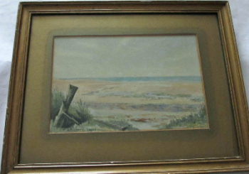 Coastal beach scene, watercolour on paper, signed P. Bicknell (Phillis Ellen Bicknell 1877-1957), dated 1925.