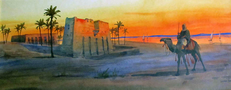 Bedouin by an oasis at sunset, signed Giovanni Barbaro, c1900.
