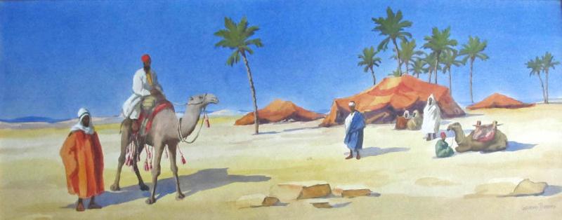 A bedouin camp, signed Giovanni Barbaro, c1900.