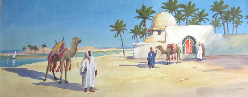 Bedouin and camels by the river and mosque, signed Giovanni Barbaro, c1900.