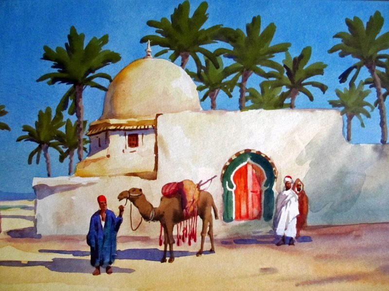 Detail from the Bedouin and camels by the river and mosque.