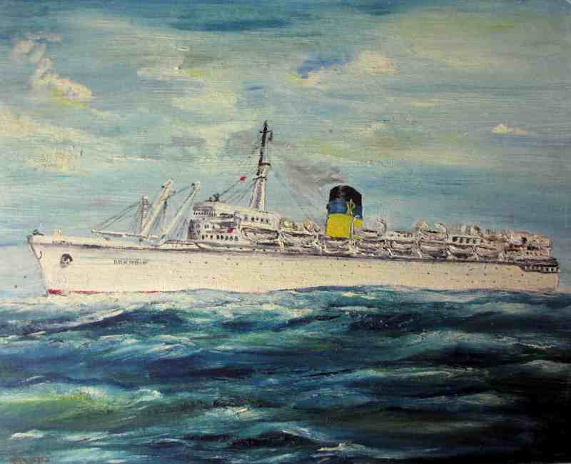 Q.S.S. Arkadia, oil on board, signed Pilota, c1960.