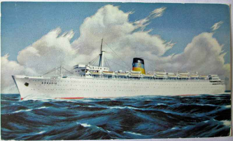 Original postcard of Q.s.s. Arkadia at sea, c1960.