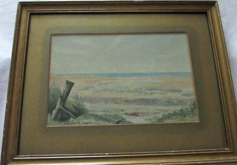 Coastal beach scene signed P. Bicknell 1925.