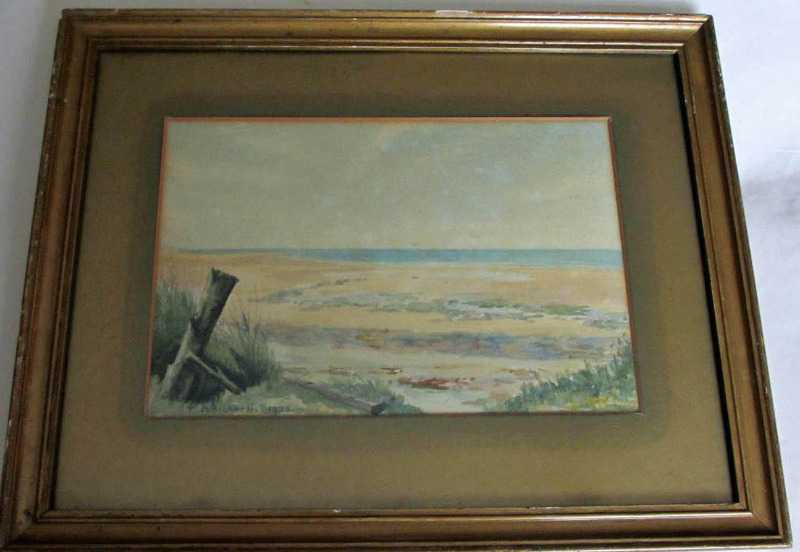 The beach scene signed P. Bicknell 1925.