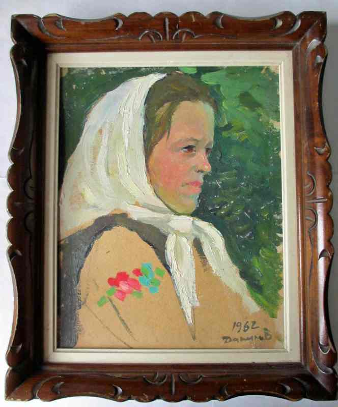 Portrait study of a woman with head-scarf, oil on card, signed and dated 1962.