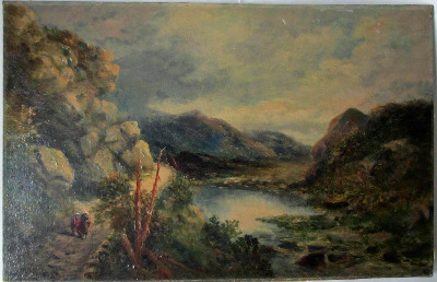 Near Arthog, Barmouth, North Wales, signed T.M. Ash, oil on board c1890. Un