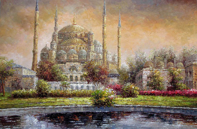Sultan Ahmed Mosque, Istanbul. Oil painting on canvas. Unsigned. c1990.   S