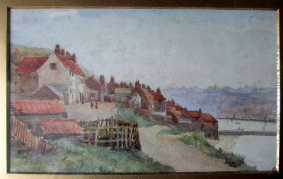 Whitby, cottages overlooking the harbour, watercolour on paper signed J.R.