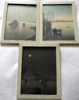 A triptych of Japanese nocturnal prints; The Night Scene Series.  Printed by T. Hasegawa, Tokyo. c1920.   SOLD.