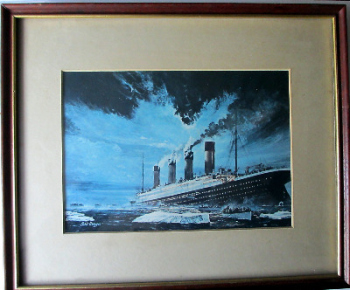 Sinking of Titanic by Chris Mayger, 14/15 April 1912, print. Framed and glazed.   SOLD  02.01.2014.