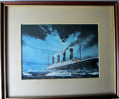 Sinking of Titanic by Chris Mayger, 14/15 April 1912, print. Framed and gla