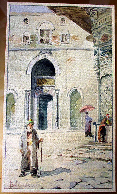 Cairo Street Scene, watercolour on paper signed T. Baldasar. c1900.
