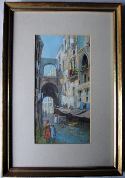 Neapolitan Street Scene with Figures, watercolour and gouache, signed  Y. Gianni. c1900. Framed and glazed.  SOLD.