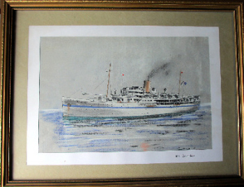 M.S. Devonshire, Bibby Line passenger ship, pen,ink and pastel drawing signed Gordon T. Kell 1953.   SOLD.
