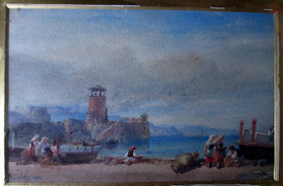 Coast Scene with Figures signed W.L Leitch 1882. Watercolour on paper.