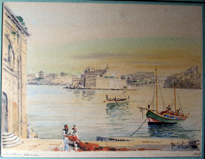 Custom House, Valletta, with a sandy sky, signed Jos. Galea 1955.  SOLD.