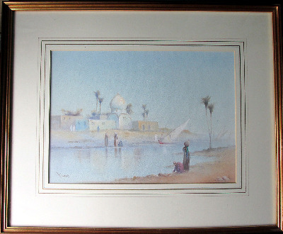 Arabian River Scene with Figures, signed R. Cooper, watercolour. c1900.