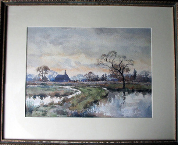 A Lincolnshire Farmhouse, signed monogram C.K., dated 41, watercolour on paper.  SOLD.