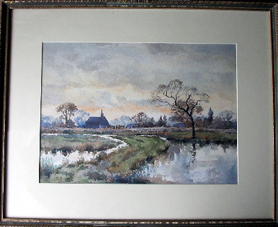 A Lincolnshire Farmhouse, signed monogram C.K., dated 41, watercolour on pa