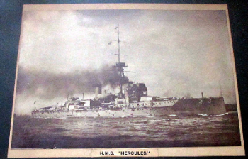 H.M.S. Hercules, sepia toned photograph. Framed and glazed. c1917.  SOLD  01.11.2014.