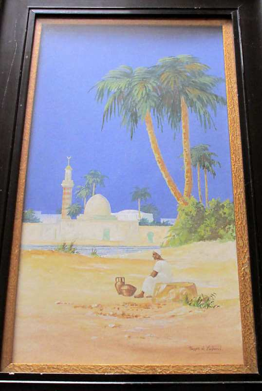 Figure sitting by the River Nile with a mosque in the background, watercolour on paper, signed by Hassan el Yashmid, c1900.