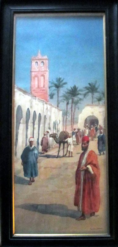 Egyptian Street Scene, watercolour on paper, signed Giovanni Barbaro. c1900.