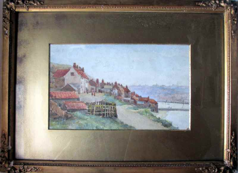 Whitby, overlooking the harbour, signed J.R. Edwards, 1909.