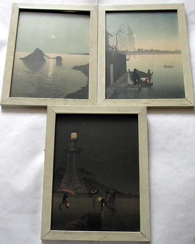 A triptych of Japanese mixed media prints dated 1931.