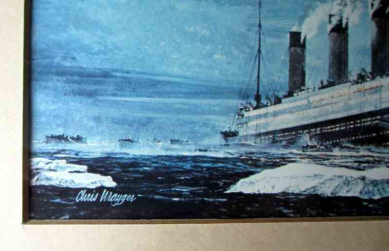 The artist's signature, Sinking of Titanic signed Chris Mayger.